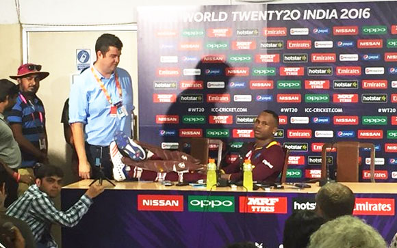 Marlon Samuels looks relaxed at the post-match Press Conference on Sunday