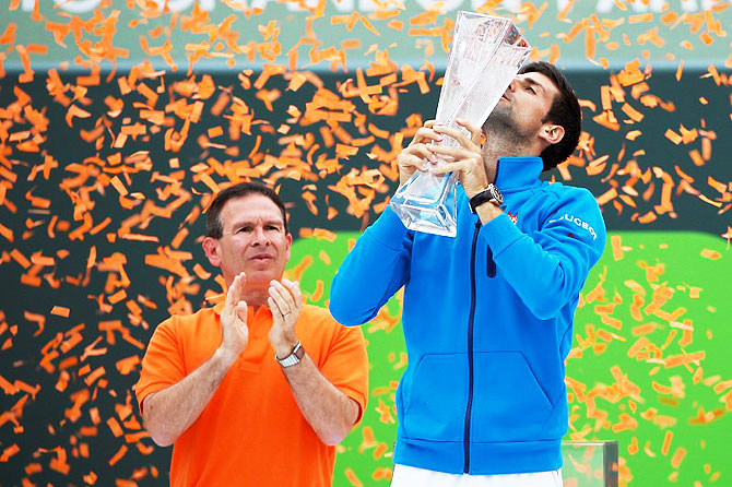 Rediff Sports - Cricket, Indian hockey, Tennis, Football, Chess, Golf - Djokovic joins game's greats after claiming Miami title