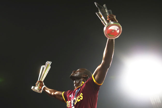 West Indies Captain Darren Sammy with the ICC World Twenty20 Cup at the Eden Gardens, Kolkata, April 3, 2016. Photograph: Ryan Pierse/Getty Images