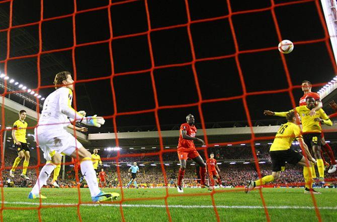 Rediff Sports - Cricket, Indian hockey, Tennis, Football, Chess, Golf - Liverpool stun Dortmund to make Europa League semis