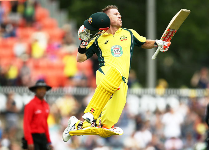 PIX: Warner nears Sachin, Sourav record as Aus down Kiwis to win series