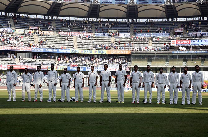 Rediff Sports - Cricket, Indian hockey, Tennis, Football, Chess, Golf - First time no Mumbai player in a home Test match!