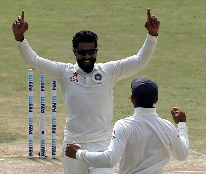 Ravindra Jadeja celebrates the wicket of Alastair Cook. The left-arm spinner who picked 7 wickets for 48 runs on Day 5 of the 5th Test in Chennai on Tuesday