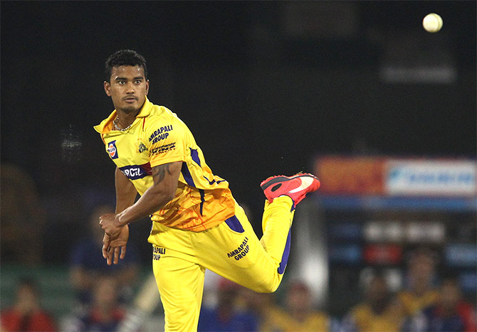 Pawan Negi of Chennai Super Kings sends down a delivery during