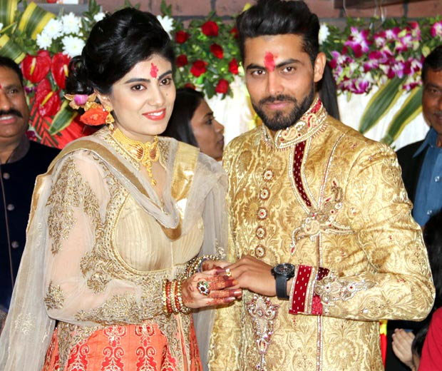 Reeva Solanki And Ravindra Jadeja After Their Engagement In Rajkot On Thursday