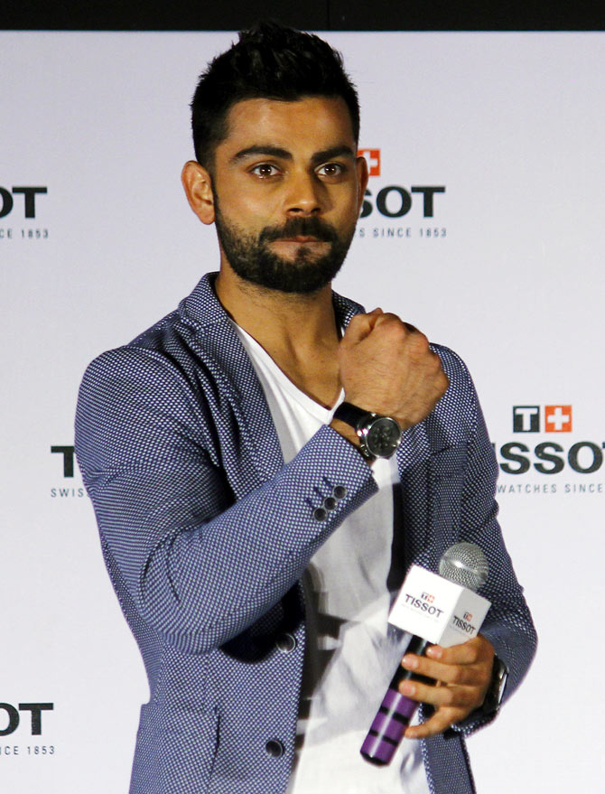 Virat Kohli unveiled as the Indian male brand ambassador for Swiss watch manufacturer Tissot. Photograph: Hitesh Harisinghani/Rediff.com