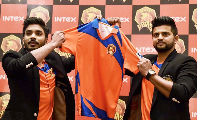 Gujarat Lions owner Keshav Bansal and team captain Suresh Raina