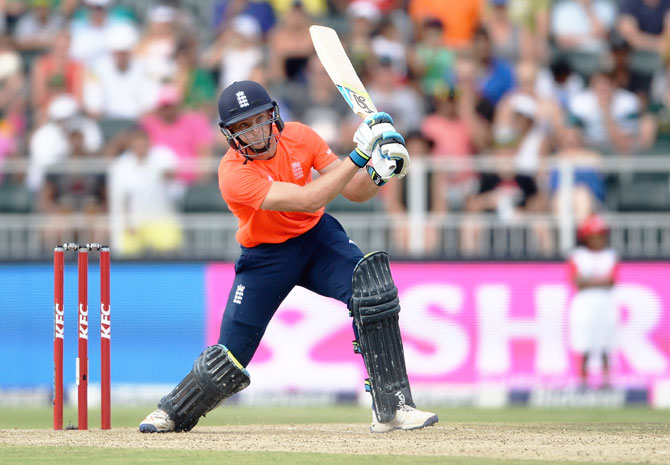 England batsman Jos Buttler plays a shot during the 2nd T20 International against South Africa on Sunday