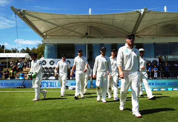 Brendon McCullum of New Zealand leads his team out during his final day of the Christchurch Test