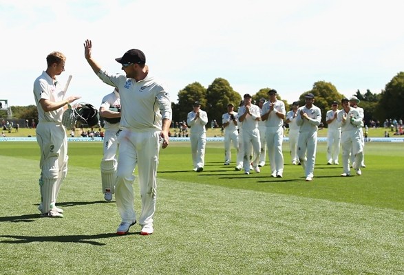 Brendon McCullum of New Zealand is congratuated as he leaves the ground after his final Test in Christchurch