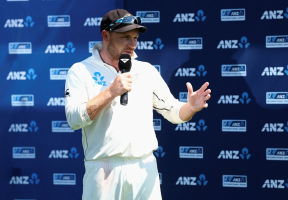 Brendon McCullum of New Zealand speaks during the presentation after his final Test