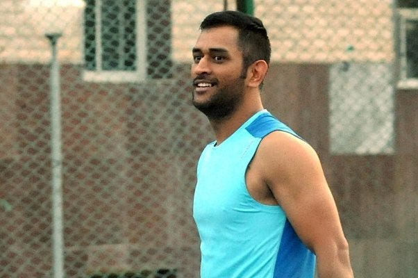Mahendra Singh Dhoni during a practice session