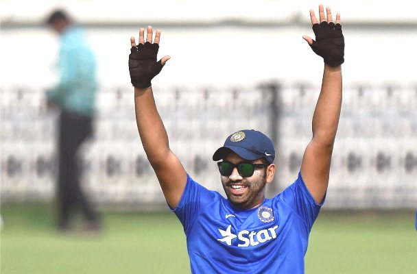 India's Rohit Sharma during a practice session