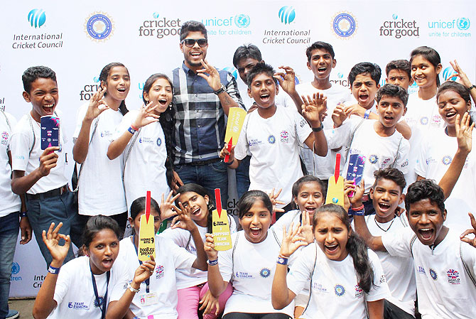Vidarbha Cricketer Umesh Yadav at the launch of Swachh Clinics team, an initiative of the ICC, Unicef and BCCI to spread awareness on sanitation, ahead of ICC T20 World Cup in Nagpur, in Maharashtra on Saturday