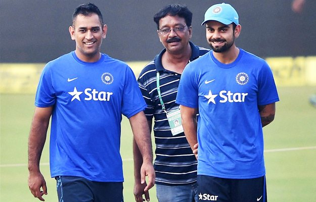 Indian Captain MSDhoni and Virat Kohli inspect the pitch