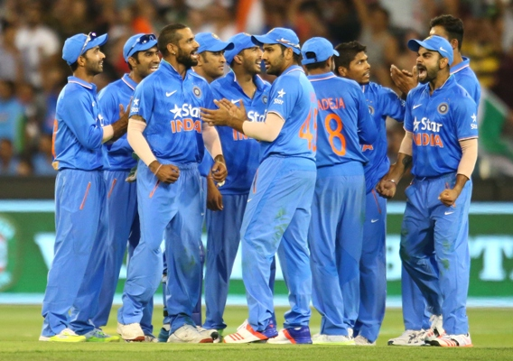Indian team celebrates a wicket in the ODI series against Australia