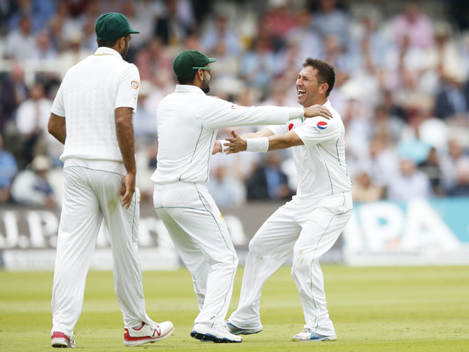 Rediff Cricket - Indian cricket - Lord's Test: Yasir takes five wickets to check England on Day 2