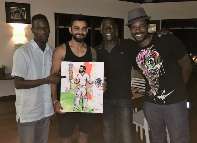 Rediff Sports - Cricket, Indian hockey, Tennis, Football, Chess, Golf - A special gift for India captain Kohli from Viv Richards's son!