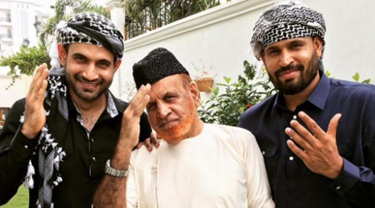 Irfan and Yusuf Pathan with their father Mehmood Khan Pathan