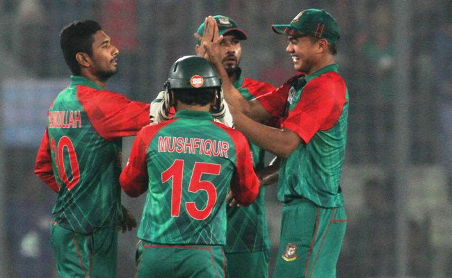 Bangladesh players celebrate a wicket during the Asia Cup