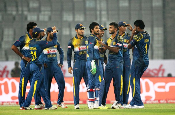 Sri Lankan players during their Asia Cup match against India