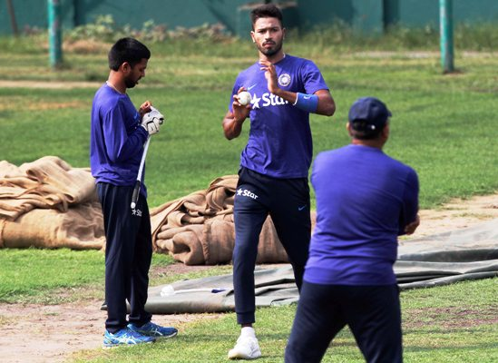 India's Hardik Pandya during a practice session