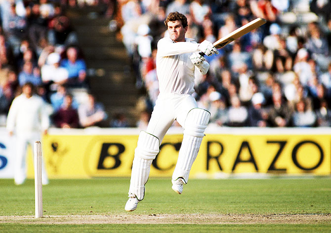 New Zealand batsman Martin Crowe goes airbourne as he cuts a ball towards the boundary during day five of the 4th Cornhill Test match between England and New Zealand at the Oval on July 18th, 1986 in London