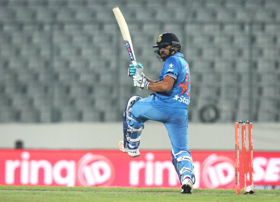 India's Rohit Sharma plays a shot during their Asia Cup match against UAE