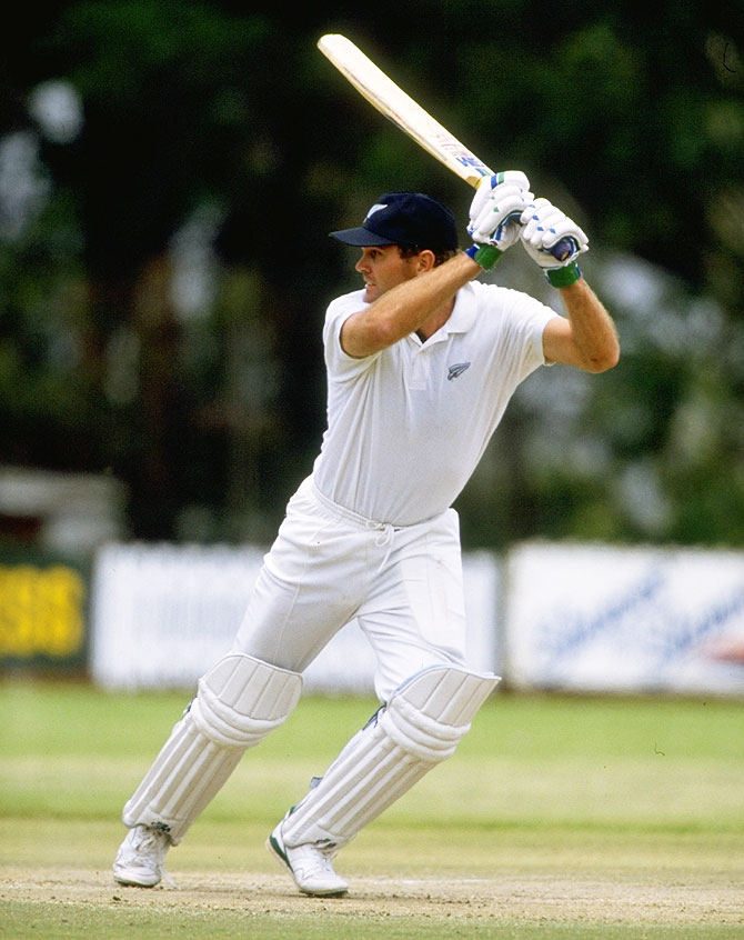 New Zealand's Martin Crowe in action during the First Test against Zimbabwe at the Bulawayo Athletic Club in Zimbabwe in November 1992