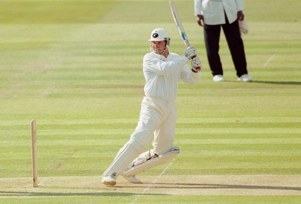Martin Crowe of New Zealand hits out