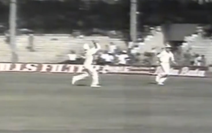A video grab of Martin Crowe's catch to dismiss Zimbabwe's Dave Houghton in the 1987 Reliance Cup