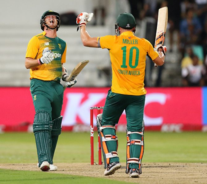 David Miller, who scored an unbeaten 53, and Kyle Abott celebrate after South Africa beat Australia in the first KFC T20 International at the Sahara Stadium, Kingsmead, March 5, 2016. Photograph: Anesh Debiky/Gallo Images/Getty Images
