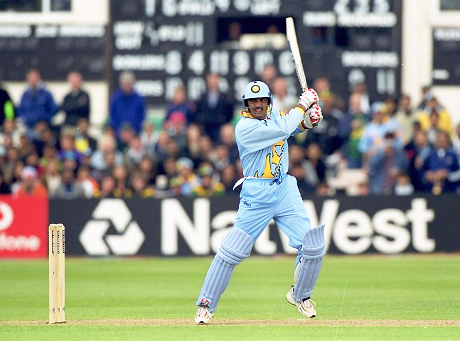 Mohammed Azharuddin bats during the Cricket World Cup Group A match against South Africa, at Hove, England on May 15, 1999