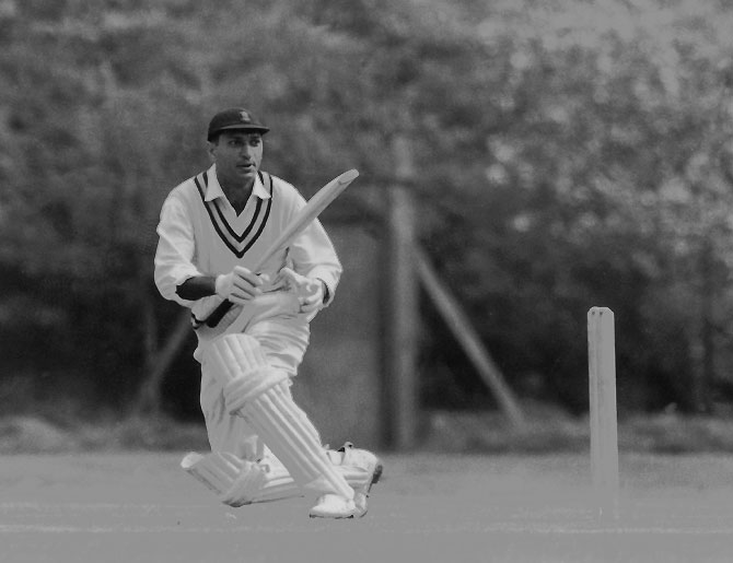 Indian cricketer Polly Umrigar batting during a practice session at Osterley, Middlesex on 23rd April 1959