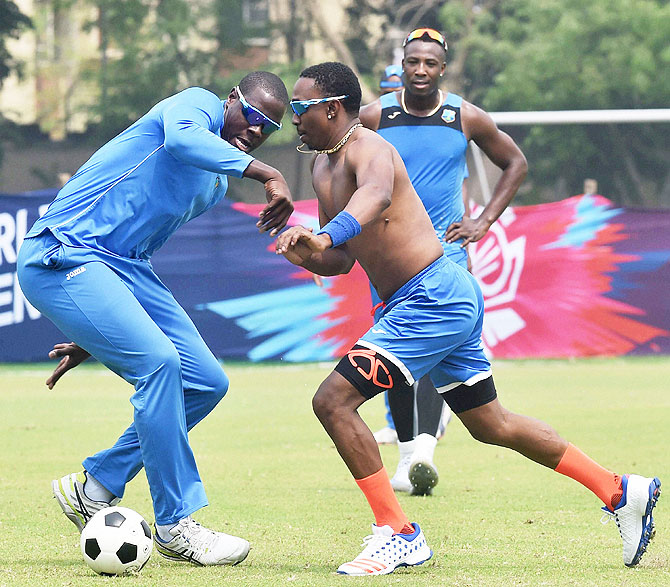 West Indies cricketers during a practice session in Kolkata on Saturday