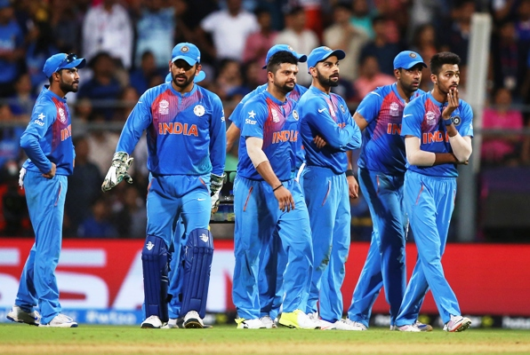 The dejected Indian players after the World Twenty20 semi-final against the West Indies at the Wankhede Stadium, March 31, 2016. Photograph: Ryan Pierse/Getty Images