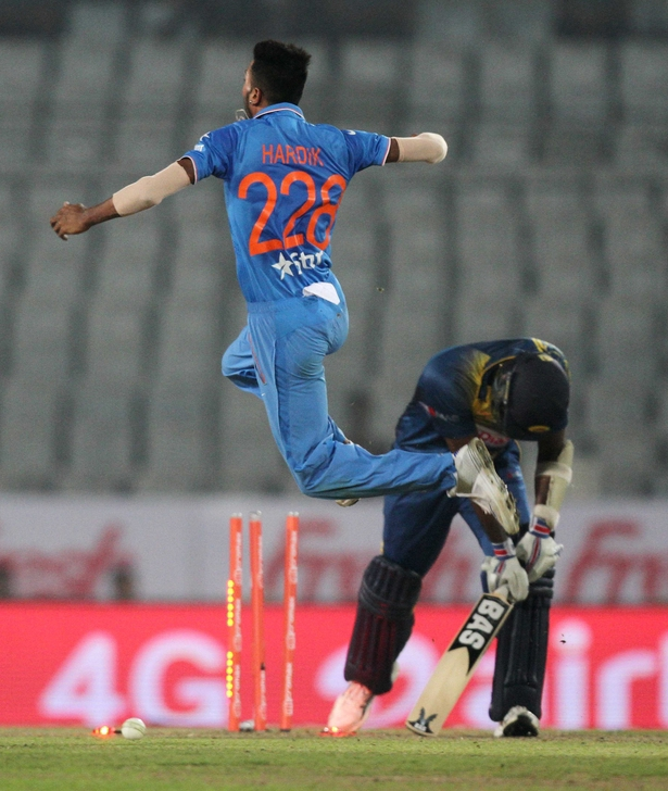 Indian all-rounder Hardik Pandya celebrates the wicket of Sri Lanka captain Angelo Mathews