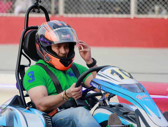 Sachin Tendulkar goes Karting in Mumbai