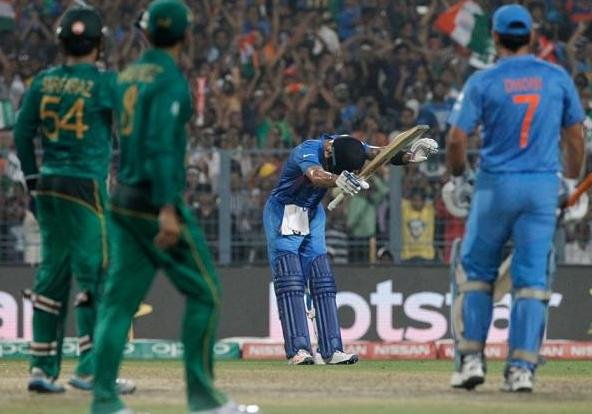 Virat Kohli dedicates his match-winning half-century against Pakistan in the World T20 to Sachin Tendulkar. Photograph: BCCI