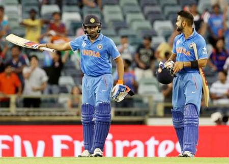 Rohit Sharma (left) and Virat Kohli during the ICC World Cup 2015