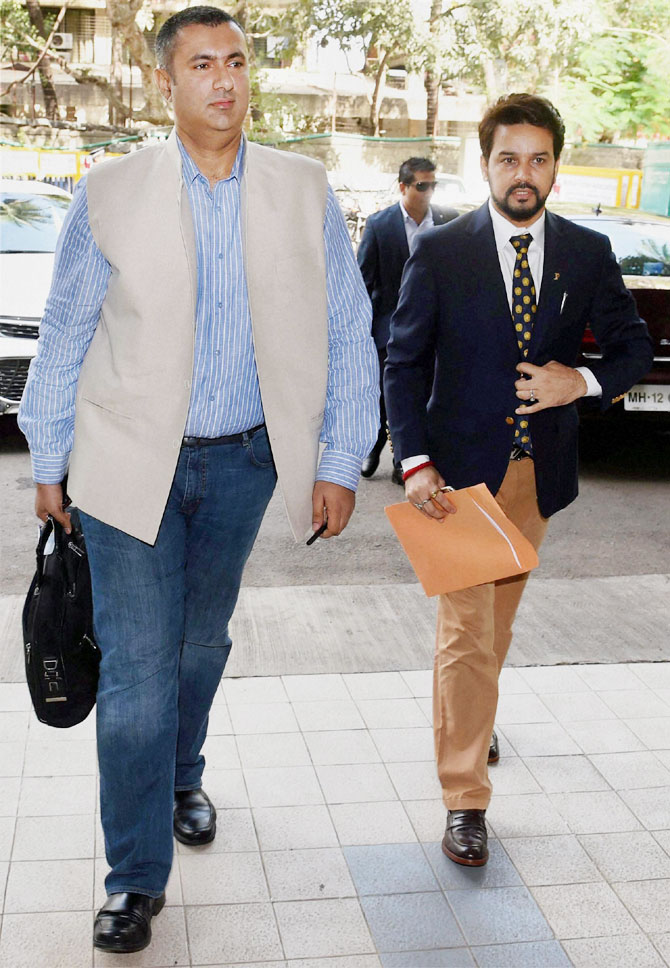 Anurag Thakur and Anirudh Chaudhary arrive for the special general meeting (SGM) at BCCI headquarters in Mumbai on Sunday