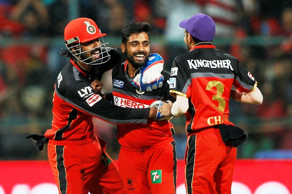 IMAGE: Iqbal Abdullah of Royal Challengers Bangalore celebrates the wicket  of Aaron Finch of Gujarat Lions. Photograph: BCCI.