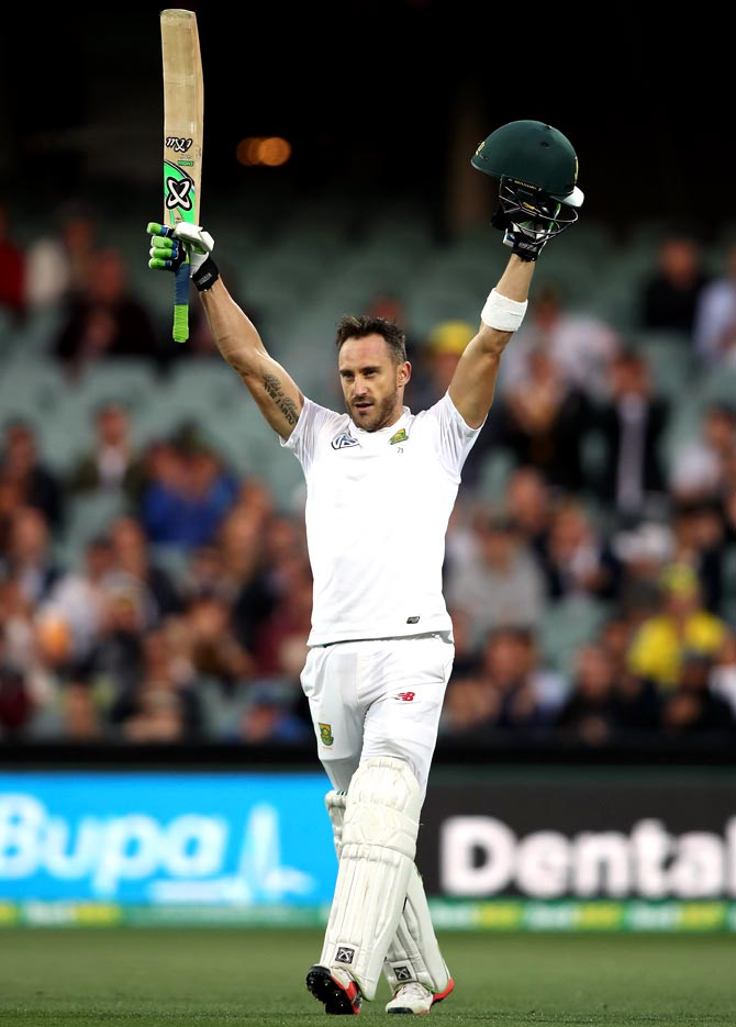Rediff Cricket - Indian cricket - PHOTOS: Du Plessis hits defiant ton to silence Adelaide boos