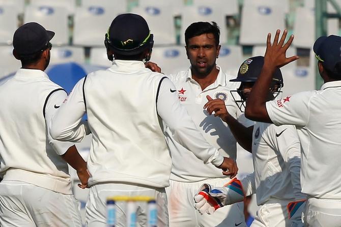 Rediff Cricket - Indian cricket - PHOTOS: Ashwin, Jadeja and Jayant leave England reeling