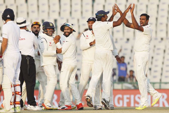 Ravichandran Ashwin celebrates the wicket of Ben Stokes on Day 3 of the 3rd Test at the Punjab Cricket Association IS Bindra Stadium, in Mohali on Monday