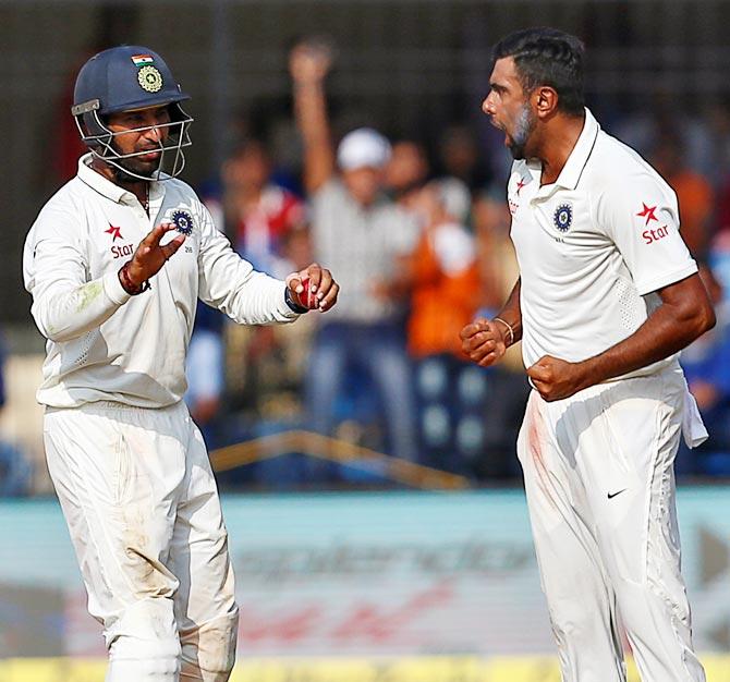Rediff Sports - Cricket, Indian hockey, Tennis, Football, Chess, Golf - PHOTOS: Ashwin's six gives India a huge lead