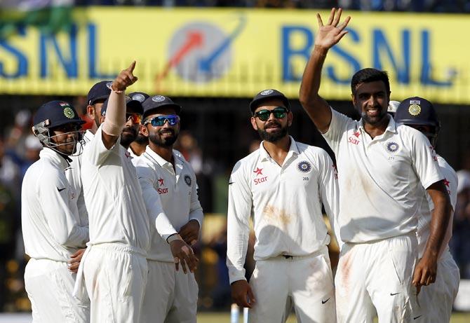 Rediff Sports - Cricket, Indian hockey, Tennis, Football, Chess, Golf - PHOTOS: Sensational Ashwin spins India to series whitewash