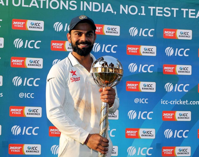 India captain Virat Kohli poses with the ICC Test Championship mace