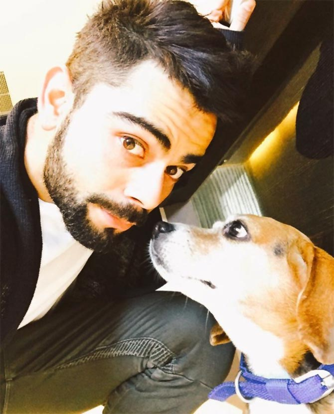 Virat Kohli with his dog