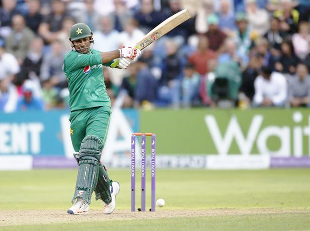 Pakistan's Sarfraz Ahmed in action against England on Sunday
